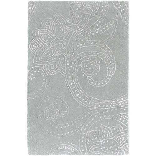 Surya Candice Olson Modern Classics CAN-1952 Classic Hand Tufted 100% New Zealand Wool Lily Pad Green 2' x 3' Paisleys and Damasks Accent Rug (Pad Area Lily Rug)