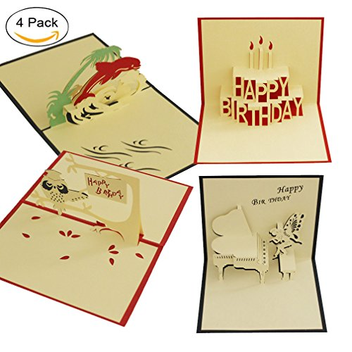 d Paper Craft for Wife Husband Kids Girlfriend Graduation Laser Cut Hand-Craft Greeting Cards Gift Dolphin Happy Birthday Candle Angel Piano Owl (Happy Dolphin)