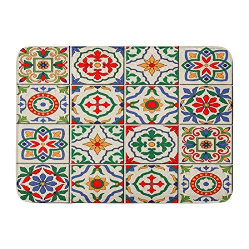 Emvency Doormats Bath Rugs Outdoor/Indoor Door Mat Blue Spanish Gorgeous White Colorful Moroccan Portuguese Tiles Azulejo Ornaments Pattern Fills Mosaic Bathroom Decor Rug Bath Mat 16