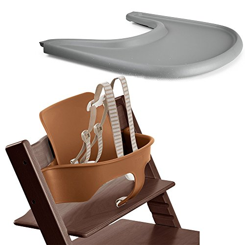 (Stokke Tripp Trapp Baby Set - Walnut Brown & Tray - Storm Grey)