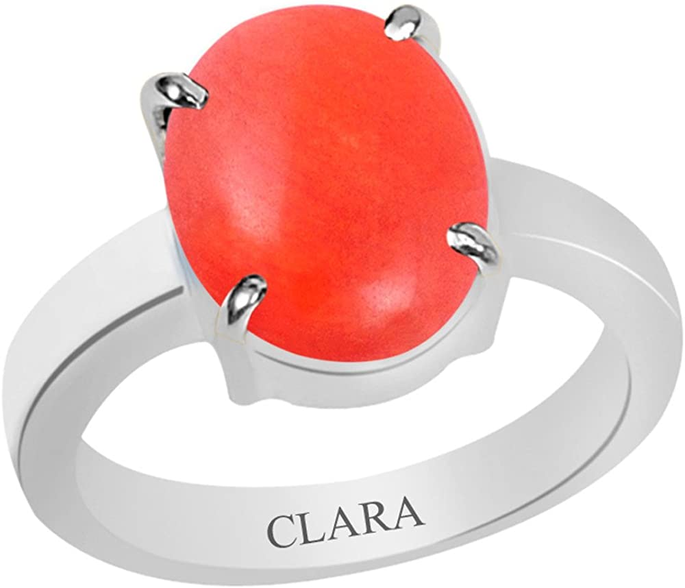 Clara Certified Coral Moonga 6.5Cts Or 7.25Ratti 4 Prongs Silver Ring
