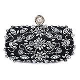 Chichitop Womens Pearl Bead Rhinestone Evening Clutch Fashion Purse Wedding bags (Black)
