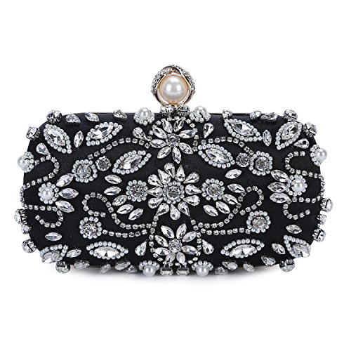 - UBORSE Womens Pearl Bead Rhinestone Evening Clutch Fashion Purse Wedding bags (Black)