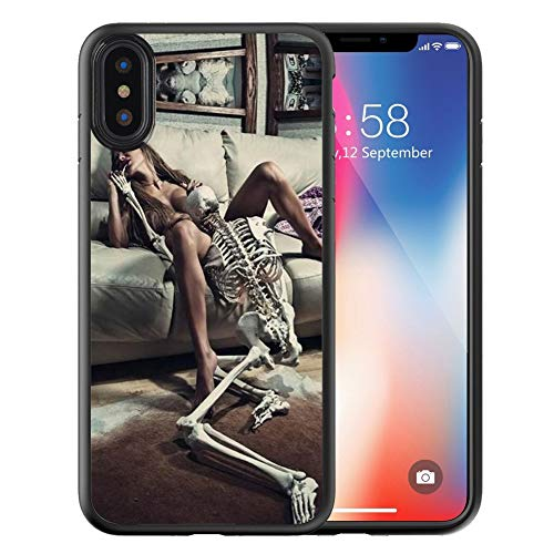 Compatible with Apple iPhone Xs Max Case Customized Black Soft Rubber TPU Case for iPhone Xs Max Case Black Ballet Sexy Girl and Skull