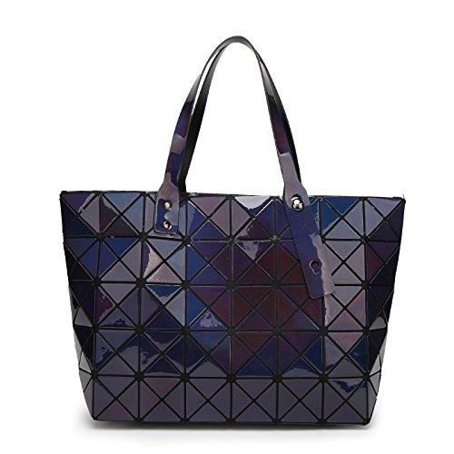 Meoaeo Bolsa De Dama Moda Bolsa Caso Diamond Geometría De La Sección Transversal Violeta Blue laser