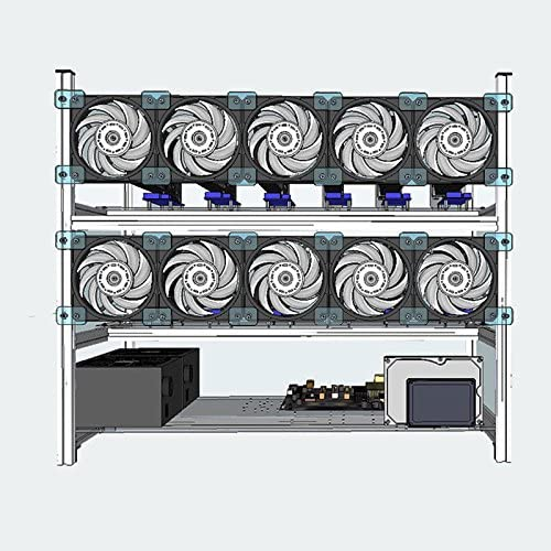 Miidii Alluminum Open Air Mining Rig Frame Case Set Stackable For 12 GPU ETH with 10 LED Fans