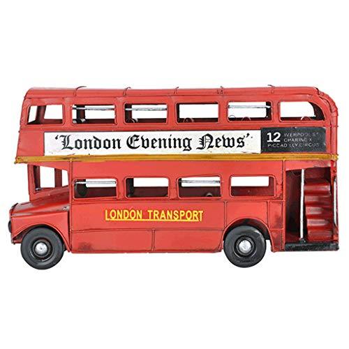 (Vintage England time Bus Model Wine Cabinet Bookcase Desktop Decoration American Children's Room Soft Decorations Tin car Desktop Decoration Design (Color : Red, Size : 309.516cm/1246inch))