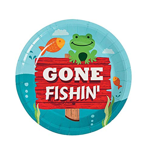 Little Fisherman Fishing Theme Tableware Pack Kid's Birthday Party Supplies Set for 16