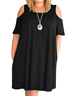 90a1cda6f9fc8 HBEYYTO Women Plus Size Dresses Cold Shoulder Short Sleeve Casual Loose  T-Shirt Swing Dress