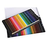 Wash Color Pencil Oil Color Pencil 72 Color Iron Box Set Painting Color Pencil (Color : White)