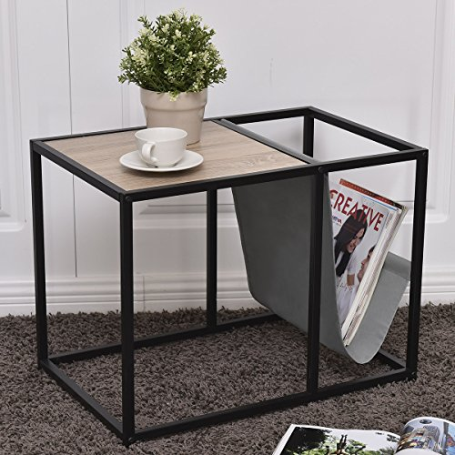 Tangkula Metal End Table Modern Unique Design Home Office Furniture Loft Style Snack Side Table with Magazine Holder and Extra Storage (Modern Design Office Furniture)