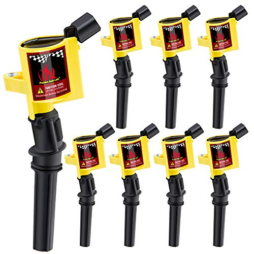 - CarBole Curved boot Ignition Coils for Ford Lincoln Mercury 4.6L 5.4L Compatible with DG508 DG457 FD503 (8pcs, yellow)