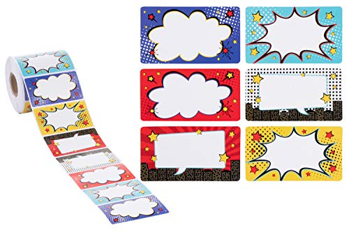 Name Stickers - 600-Count Superhero Name Tag Stickers, Assorted Comic Style Name Label Sticker, Ideal for Students, Classroom, Party, Visitor Passes, 6 Speech Bubble Designs, 3.5 x 2 Inches (Marvel Folder Comics)