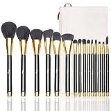 Qivange Makeup Brushes, 15 PCS Liquid Foundation Powder Blending Brush Set with Cosmetic Bag, Black With Gold