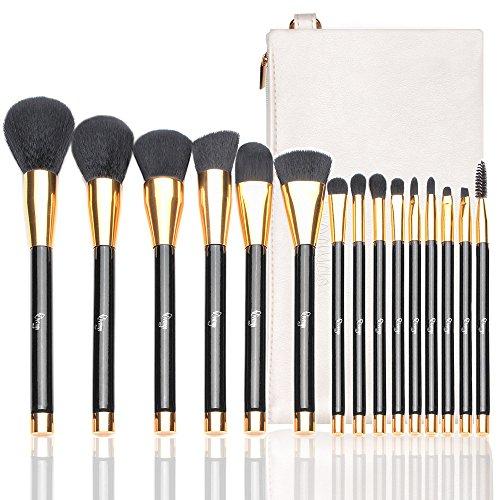 - Qivange Makeup Brushes, 15 PCS Liquid Foundation Powder Blending Brush Set with Cosmetic Bag, Black With Gold
