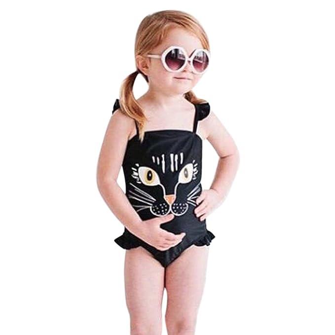 Conjuntos bebé, Bañador niña bebé de Verano Traje de baño una Piezas de impresión Chicas Bikini Bañadores Bodies Jumpsuit Mameluco Ropa de Playa 2 ...