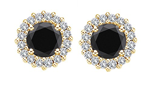 Round Black Simulated Sapphire and White CZ Halo Stud Earrings In 14K Gold Over Sterling Silver ()