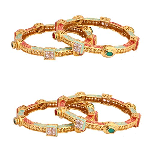 Indian Women Antique Gold Plated Kundan Stone Adjustable Anklets Wedding Jewelry