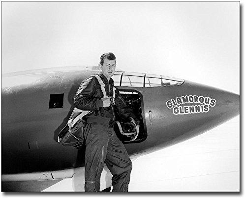 Rocket Research Plane - Chuck Yeager w/ Bell X-1 Rocket Plane 8x10 Silver Halide Photo Print