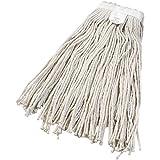 Cut-End Wet Mop Head, Cotton, White, 12/Case