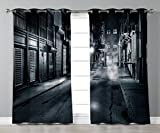 iPrint Stylish Window Curtains,Night,Moody Monochrome View of Cortlandt Alley Chinatown New York City Dark Urban Scenery,Black White,2 Panel Set Window Drapes,for Living Room Bedroom Kitchen Cafe