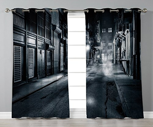 Cheap iPrint Stylish Window Curtains,Night,Moody Monochrome View of Cortlandt Alley Chinatown New York City Dark Urban Scenery,Black White,2 Panel Set Window Drapes,for Living Room Bedroom Kitchen Cafe