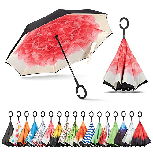 Sharpty Inverted Umbrella, Umbrella Windproof, Reverse Umbrella, Umbrellas for Women with UV Protection, Upside Down Umbrella with C-Shaped Handle (Red Lotus)