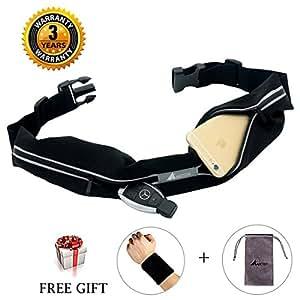 Abeter Best Running Belt Pocket Belt Waist Pack Pouch Waterproof With 2 Expandable Pockets And No Bounce Zipper For Phone Iphone 6 7 8 X Plus, Cards, Keys, Money, Outdoor Sport Travel For Women, Men