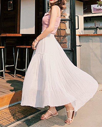 Casual Blanc Femme Longue Slim Jupe Taille Couleur Haute Fluide Unie Fit UwxqIvC