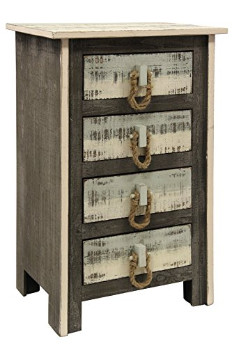 Collective Design 720354122752 Transitional Distressed 4-Drawer Solid Pine Grey White and Sky Blue Driftwood Chest Gray