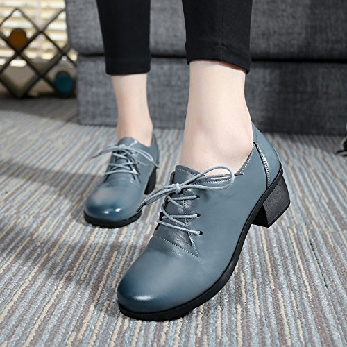 England Thirty Thick Leather Leather Shoes Shoes Genuine Autumn Of Up Lace With Eight Spring Head The In With Women'S And KPHY Shoes Gray Round qST177