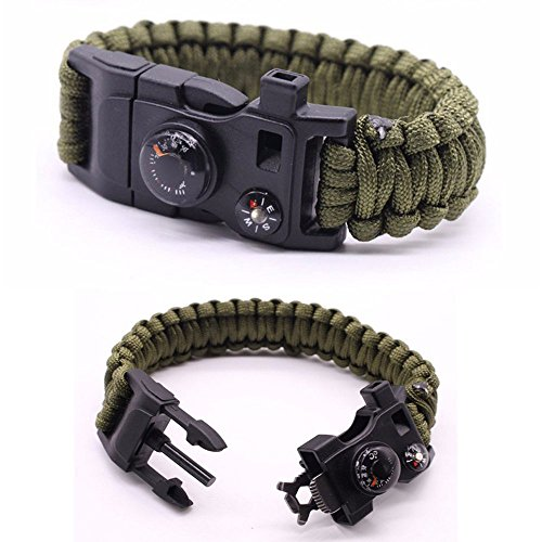 Premium Quality Camping Gear Paracord Survival Bracelet - Best Safety Band For Camping and Hiking - 12-in-1 Features Like Compass, Thermometer, Knife, Fire Starter, Emergency Whistle, and More Arizona State Wrist Watch