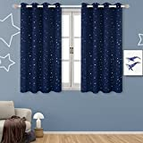 Room Darkening Curtains for Kid's Room- Silver Star Foil Printed Window Drapes for Bedroom, Grommet, 2 Panels (52'' Wx63 L Each Panel,Navy Blue)