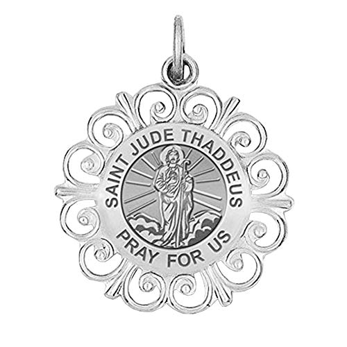 aint Jude Thaddeus Round Filigree Religious Medal - 1 Inch Size of a Quarter in Solid 14K White Gold ()