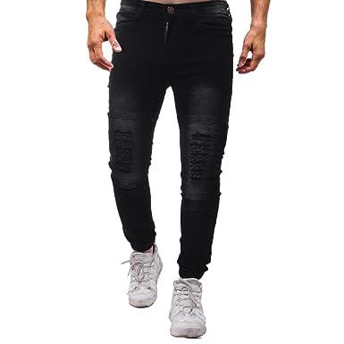 c13a4cea434cb Pantalon Chino Skinny Homme,Overdose Hiver Automne Pantalons Habillé Slim  Jeans Coton Trousers