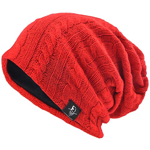 VECRY Men's Slouchy Beanie Knit Crochet Rasta Cap for Summer Winter (Red) ()