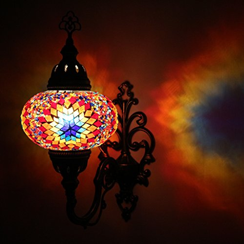 Light Mosaic Sconce (Multicolor Handmade Moroccan Turkish Ottoman Style Mosaic Wall Sconce Lamp with Large Size Globe)