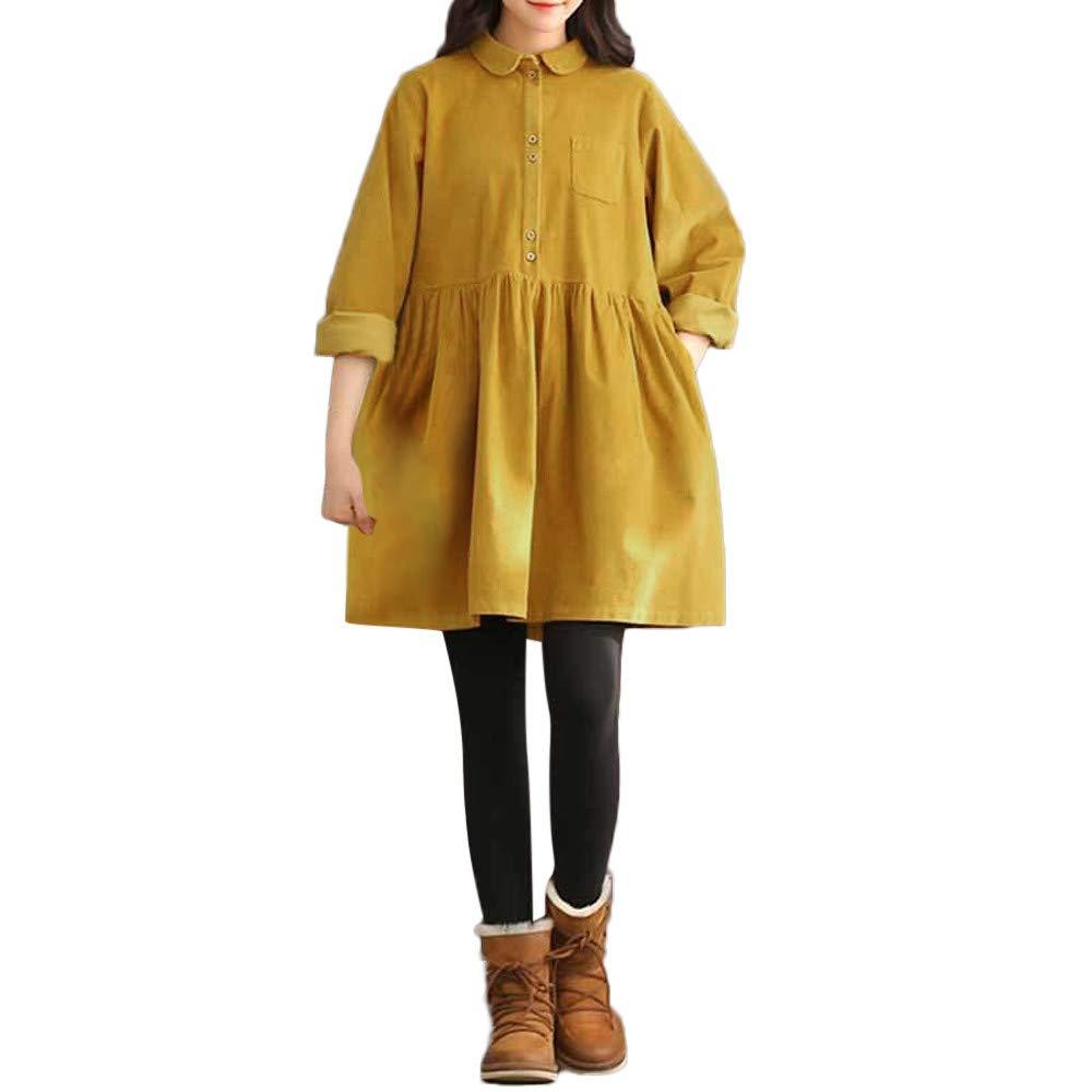 Clearance Litetao Women Casual Loose Forest Long Sleeve A Line Lapel Dress Shirt (M, Yellow)