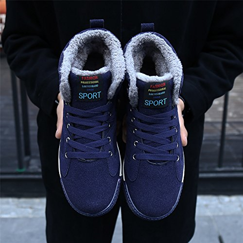 Top Blue Hiking Sneaker High Boots Men's Dark Winter Fashion Fur Warm Boots Bigcount Snow Lined 6IAqv
