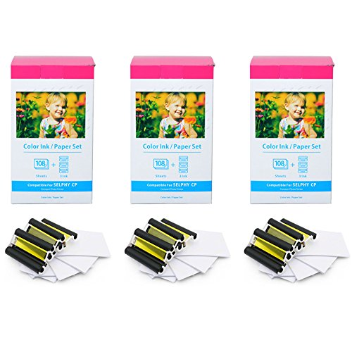 (GREENCYCLE Compatible KP-108IN KP108IN KP108 3 Color Ink Cassette and 108 Sheets 4 x 6