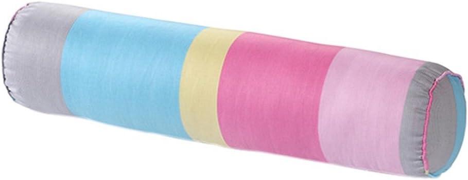 nunubee suave Cuello Rollo almohada con barem lavable de algodón funda Caramelos Gefo blindado almohada cojín lumbar, algodón, Bunte Streifen, 15*60cm