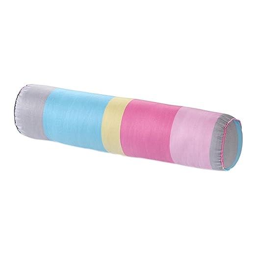 nunubee suave Cuello Rollo almohada con barem lavable de algodón funda Caramelos Gefo blindado almohada cojín lumbar, algodón, Bunte Streifen, 20*80cm