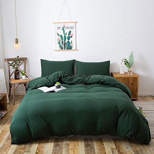 HOUSEHOLD 100% Cotton Jersey Knit Duvet Cover Light Weight,Comfortable,Extremely Durable Includes 2 Pillowcase (Dark Green, Queen)