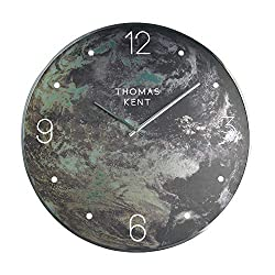 Thomas Kent 20 Earth Pattern Wall Clock Glass Face with Aluminum Alloy Frame