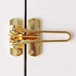 Alise MS570-G Gate Latches Swing Bar Door Guard Burglar-Proof Padlock Door Clasp Lock,Golden Finished