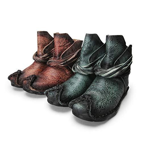 ZHRUI Frauen Vintage Stiefel Leder Blaumendruck Flach Zipper Zipper Flach Schuhe (Farbe   Grün, Größe   EU 37) 6c87d5