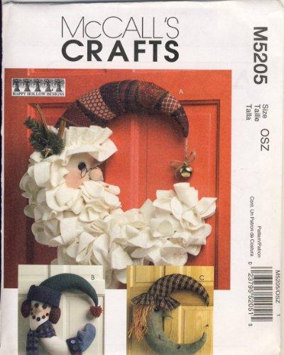 McCall Craft Sewing Pattern 5205 - Use to Make - Seasonal Door Decorations - Santa, Snowman, ()