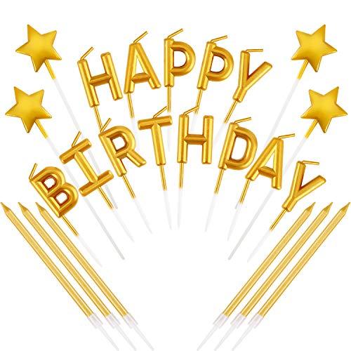 Mudder 23 Pieces Gold Happy Birthday Candles Star