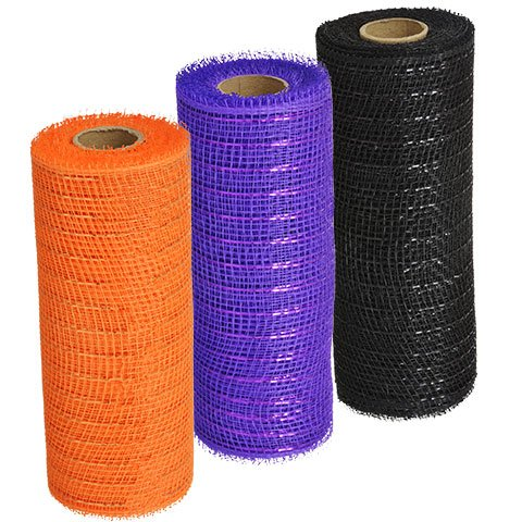 Halloween Craft Home Decor Decoration Decorative Black Purple Orange Mesh, 5-yd. Rolls -