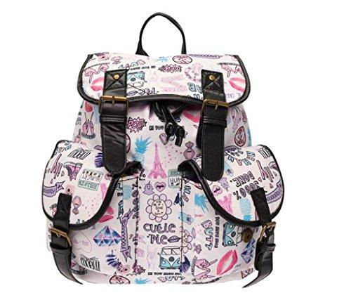 Great Strange Student Double Pocket Rucksack Retro Wölbung Gürtel Bunte Einkaufen Schule Kinder 36 * 32 * 22cm